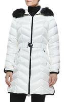 Dawn Levy Natashia Belted Puffer Coat W Faux-fur Trim - Lyst