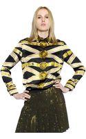 Versus  Gold Belt Printed Silk Satin Shirt - Lyst