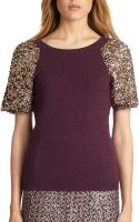 Tory Burch Sequin-sleeved Sweater - Lyst