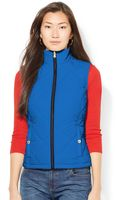 Lauren by Ralph Lauren Petite Quilted Zip-up Vest - Lyst