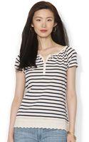 Ralph Lauren Lauren Jeans Co Shortsleeve Eyelettrim Striped Top - Lyst
