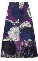 Marni Embellished Printed Cotton Skirt - Lyst
