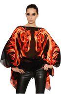 Roberto Cavalli Printed Silk Chiffon Caftan Top - Lyst