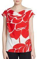 Escada Lotus-print Stretch Silk Blouse - Lyst