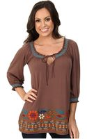 Stetson Rayon Spendex Jersey Peasant Top - Lyst