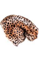Black.co.uk Leopard Print Rabbit Fur Slouch Hat - Lyst