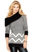 Guess Cowl-neck Striped Tunic Sweater - Lyst