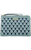 Marc Jacobs Blue-Grey and Navy Leather Double Perforated Clutch - Lyst