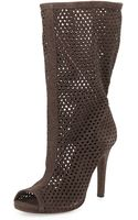 Pedro Garcia Sira Perforated Peep-toe Mid-calf Boot - Lyst