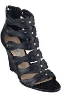 Guess Jily Leather Sandal Wedges - Lyst