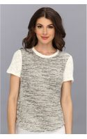 Rebecca Taylor Short Sleeve Tweed Top - Lyst
