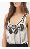 Love 21 Sheer Beaded Top - Lyst