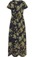 Suno Floral-print Silk-shantung Dress - Lyst