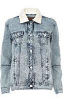 River Island Light Acid Wash Fleece Collar Denim Jacket - Lyst