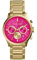 Michael Kors Womens Chronograph Bailey Goldtone Stainless Steel Bracelet Watch 44mm - Lyst