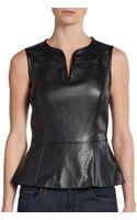 Saks Fifth Avenue Black Label Vegan Leather Peplum Top - Lyst