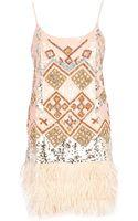 River Island Light Pink Sequin Feather Trim Cami Dress - Lyst