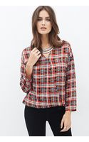 Forever 21 Plaid Drop-sleeve Surplice Top - Lyst