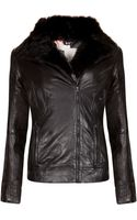 Ted Baker Furrly Leather Jacket - Lyst
