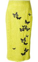 No 21 Butterfly Embroidered Lace Skirt - Lyst