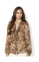Lauren by Ralph Lauren Feather Printed Rufflefront Blouse - Lyst