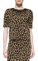 St. John Leopard Knit Elbow-Sleeve Top - Lyst