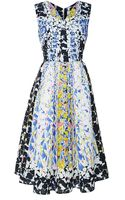 Peter Pilotto Rh Printed Cloquã Vneck Dress - Lyst
