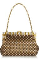Dolce & Gabbana Vanda Swarovski Crystalembellished Metallic Leather Clutch - Lyst
