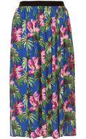 Topshop Hibiscus Spliced Midi Skirt - Lyst