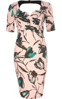 River Island Pink Floral Print Cut Out Miracle Dress - Lyst