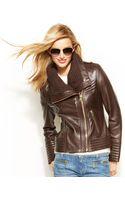 Michael Kors Michael Knittrim Leather Jacket - Lyst