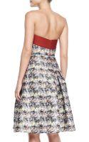 Carolina Herrera Strapless Marbleprint Flare Dress - Lyst