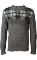 Neil Barrett Gradient Check Sweater - Lyst