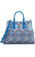 Tory Burch Robinson Printed Triangle Tote Bag Blue - Lyst