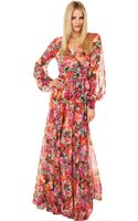 Akira Black Label Tropical Print Flowy Maxi Dress in Red Rose - Lyst