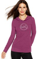 Michael Kors Michael Petite Waffle-knit Hooded Logo Tee - Lyst