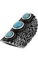 Steve Madden Silvertone Turquoise Bead Etched Long Ring - Lyst