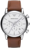 Emporio Armani Mens Stainless Steel Round Watch with Leather Strap - Lyst