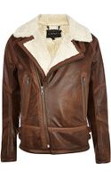 River Island Brown Shearling Jacket - Lyst