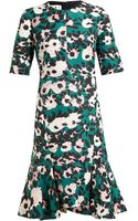 Marni Floral Print Fluted Hem Dress - Lyst