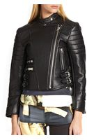 Acne Studios Moi Quilted-panel Leather Biker Jacket - Lyst