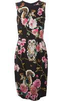 Dolce & Gabbana Floral Print Midi Dress - Lyst