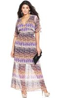Spense Plus Size Fluttersleeve Printed Maxi Dress - Lyst