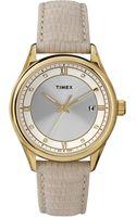 Timex® Womens Beige Lizardpattern Leather Strap Watch 36mm T2p556ab - Lyst