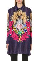 Mary Katrantzou Striped Silk Pigeonprint Shirt Multi - Lyst