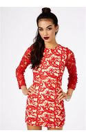 Missguided Kraisa Embroidered Lace Shift Dress in Red - Lyst