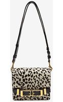 A.l.c. Handbags Alc Davenport Double Buckle Haircalf Clutch Blackwhite Leopard - Lyst