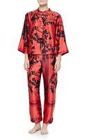 Natori Alexandra Floral-print Mandarin Pajama Set - Lyst