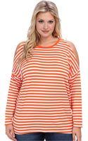 MICHAEL Michael Kors Plus Size Ls Stripe Cold Shoulder Top - Lyst