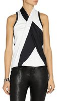 Helmut Lang Draped Leather-trimmed Crepe Top - Lyst